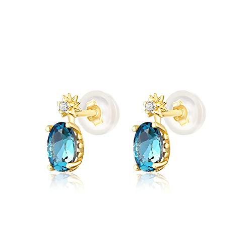 @Y.T Pendientes con Forma de Huevo 925 Pendientes de botón de Plata esterlina Elegante Topacio Azul Claro Modelos Femeninos