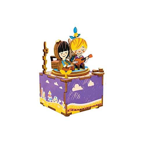 FABAX Cajas Musicales Caja de música Puzzle 3D de Madera, Music Box Kits de construcción, for Aults y Adolescentes Cuando la Navidad/cumpleaños/Valentin Regalo de cumpleaños