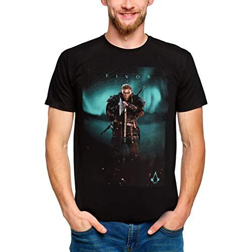 Assassin's Creed Herren T-Shirt Eivor Valhalla Baumwolle schwarz - L