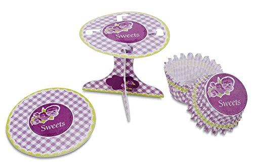 Städter 336155 Muffin Kit de décoration Sweets, Carton/Papier, Blanc/Violet/Vert, 10 x 10 x 9 cm