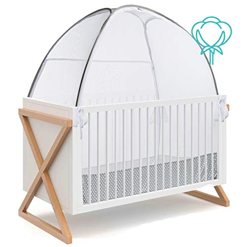 Green Frog Baby Safety Pop Up Crib Tent Infant - 100% Organic Cotton, See Through Mosquito Net and Nursery Canopy Netting Cover Keep Baby from Climbing Out - Toddler Crib Accessories