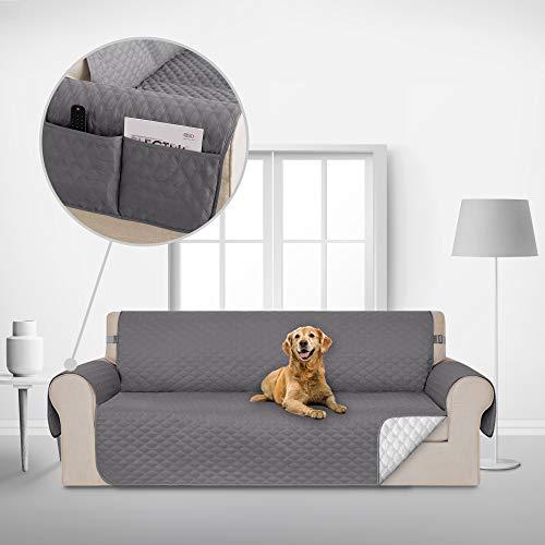 Deconovo Sofabezug Wohnzimmer Sofaüberwurf Sofaüberzug Couchbezug Möbelschutz Sofaläufer 173x190 cm Hellgrau 3-Sitzer