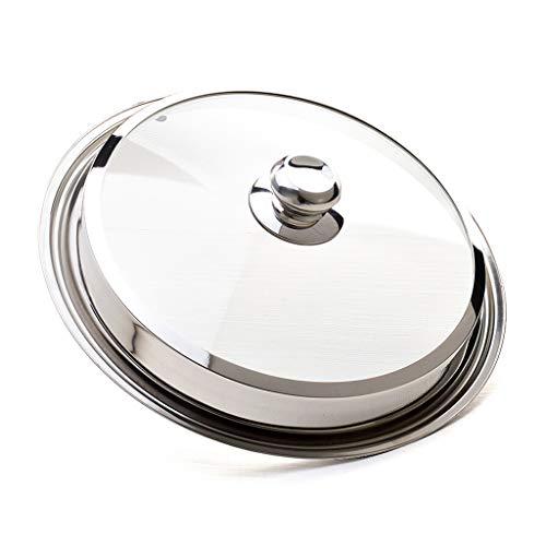 hkwshop Couvercles pour marmites Pot en Verre Couvercle en Acier Inoxydable Couvercle Universel Visible Dôme Couvercle poêle à Vapeur Vent Batterie de Cuisine Accessoires Couvercle en Universel