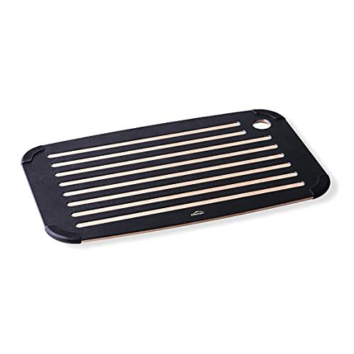 Lacor 60589 Cocina, Tabla para Cortar Pan, Fibra de Madera Natural y Ecológica, Silicona, Superficie Lisa y Acanalada, Antibacteriana, 40x25x0.65cm, Negro