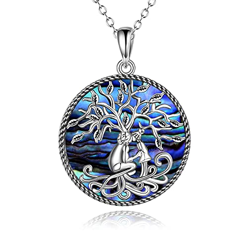 POPLYKE Grandma Necklace Jewelry Gifts for Grandma from Granddaughter Sterling Silver Celtic Tree of Life Abalone Pendant Jewelry for Women Girls