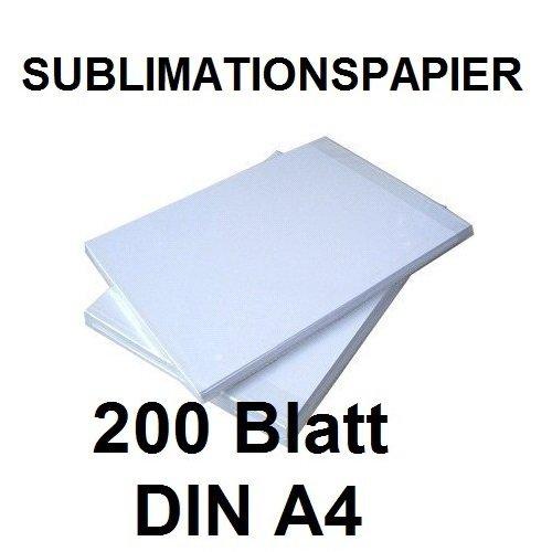 200 BLATT SUBLIMATIONSPAPIER/THERMO-TRANSFERPAPIER DIN A4 für Shirts, Caps, Tassen, Mousepads. Hervorragende Übertragungsqualität, Farbannahme und Farbsättigung, schnell trocknend, wischfest