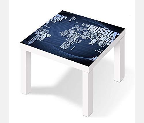 Möbelaufkleber für Ikea Lack Tisch 55x55cm Weltkarte modern Karte Globus Erde Text Schift Russia Aufkleber Klebefolie Möbelfolie Folie (Ohne Möbel) 25W2887