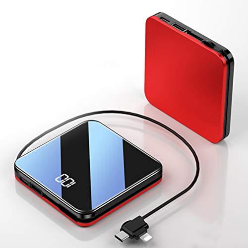 AP.DISHU Mini Powerbank 10000mAh, Batería Externa Movil Pantalla LED Cargador Portátil con Gran Capacidad y Doble Salida, para iPhon, IPA, Samsung Galaxy, Huawei Y Otros Smartphones y Tableta,Rojo