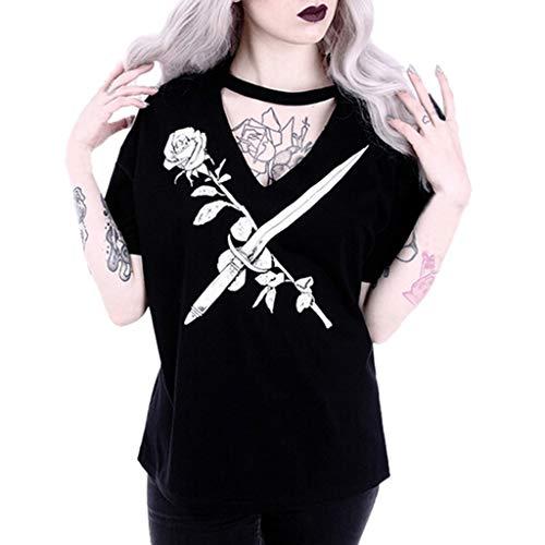 Damen Karneval Gothic T-Shirt Sexy V-Ausschnitt Top Shirt Blume Drucken Mode...