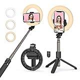 Mpow Perche Selfie Ring Light,LED Lumière Anneau avec Trépied Réglable Rotation 360° pour Diffusion en Tik Tok,Youtube Maquillage, Anneau Lumineux de Caméra LED, Rechargeable(3 Modes et 3 Luminosité)