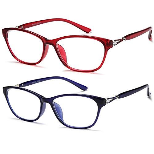 Blue Light Blocking Reading Glasses - 2 Pack +2.0 Readers Eyeglasses Computer Glasses Anti Glare Eyestrain Lightweight for Women (Red Blue)