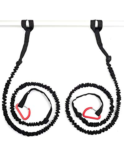 OCEANBROAD 2 PCS Pack 5-8 Feet Stretchable Paddle Strap with Carabiner Secure Leash Lanyard Rope for SUP Kayak Canoe Paddle Fishing Pole Rod