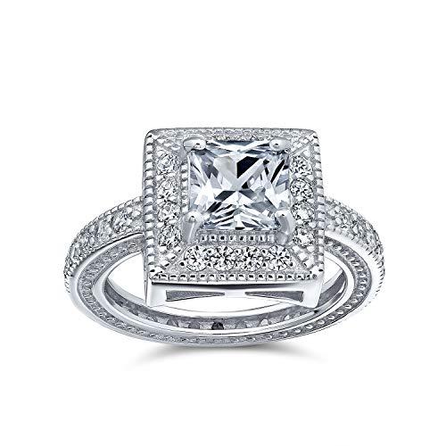 Bling Jewelry 2CT Art Deco Cubic Zirconia Asscher Milgrain Tagliata Quadrata Halo AAA CZ Anello di Fidanzamento Argento Sterling