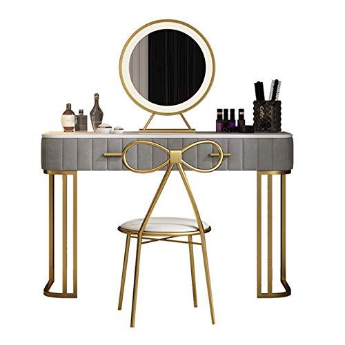 N/Z Living Equipment Girls Kommode für Schlafzimmer Make-up Tisch (grau) mit LED-Lichtern Spiegel und gepolsterten Hocker Marmor Tischplatte 2 Schubladen Waschtisch Set