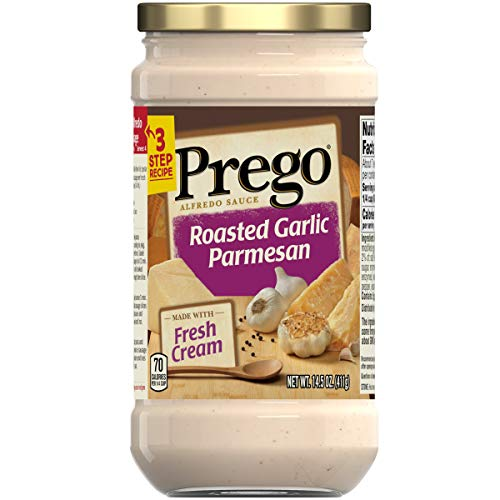 Prego Pasta Sauce, Alfredo Sauce With Roasted Garlic and Parmesan Cheese, 14.5 Ounce Jar
