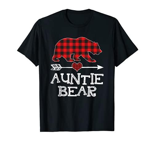 Weihnachts-Pyjama, Motiv: Auntie Bär, rotes Karomuster, Geschenk für Familie T-Shirt