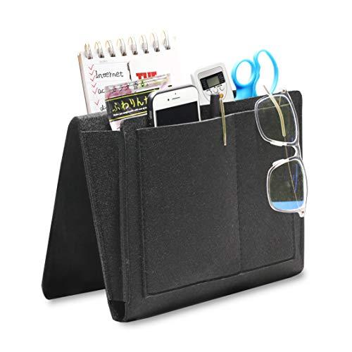 Hbsite Filz Nacht Aufbewahrungstasche mit Taschen, Insert Sofa Double Layer Hanging Organizer für DVD, Zeitschriften, Tablet, Fernbedienungen, etc. (Black)