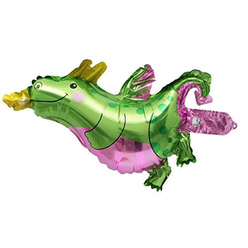 10x Dinosaurier Ballon Folienballon Luftballon für Kindergeburtstag und Taufe - Feuer Drachen