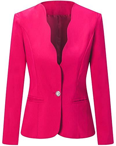 Unifizz Womens Casual Work Office Blazer Pockets Buttons Suit Jacket 3/4 Sleeve (Large, Beige)