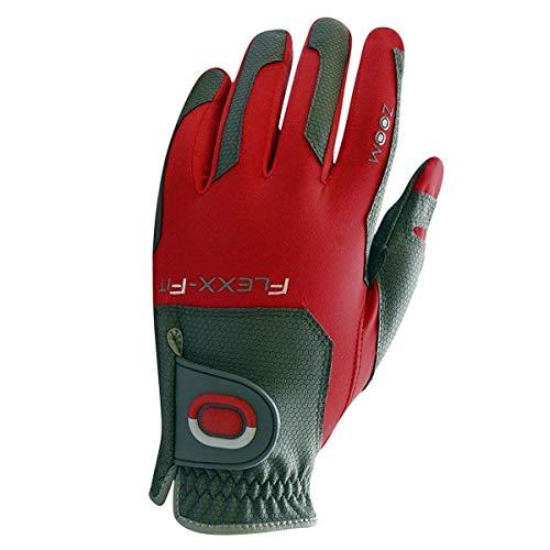 Zoom Flex-Fit Golfhandschuh, Einheitsgröße, passend für alle Herren, trendige Allwetter-Golfhandschuhe, Charcoal/Rot, Einheitsgröße