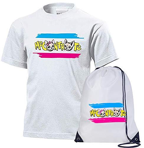 T-Shirt Maglietta Cotone + Sacca Nylon Me Contro Te Replica Sofi e Lui Logo Estate (9-11 Anni)