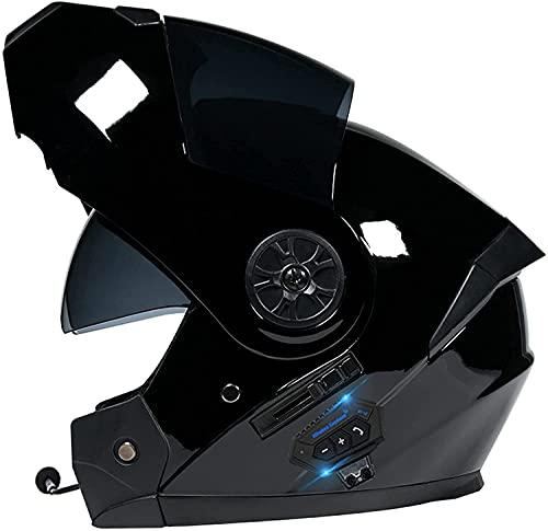 KKAAMYND Casco De Moto Modular Bluetooth Integrado Casco Anticolisión con Visor Solar Doble Casco Integral ECE Certificación Apto para Hombres Y Mujeres En Temporadas