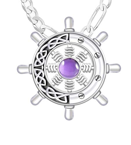 Men's 1 3/8in 925 Sterling Silver Irish Celtic Ship's Wheel Genuine Amethyst Pendant 3.0mm Figaro Necklace, 24'