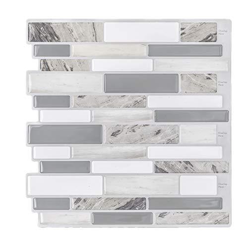 Modern Grey Peel and Stick Tile Backsplash for Kitchen, Decorative Vinyl Backsplash Tile Peel and Stick Subway Tiles, Smart Sticker Tile for RV Kitchen 10