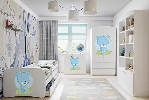 WFL GROUP Dormitorio Infantil Conjunto Muebles - Cama, Armario, Cómoda, Estantería - 4 Piezas - Osito Azul - 80 x 180 cm