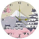 Eslifey Himeji Castillo Japón Cerezos Flores Funciona con pilas Reloj de pared Redondo Dormitorio Salón Cocina Baño Oficina Escuela