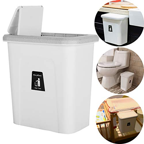 KARYHOME Small Trash Can with Lid for Kitchen Cabinet Door,Diaper Pail,Hanging Garbage Can for Baby Crib and Narrow Spaces,White