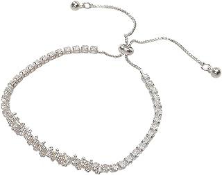Womens Trendy Rhinestone Sparkle Bling Crystal Bracelet Adjustable Wristband (Silver)