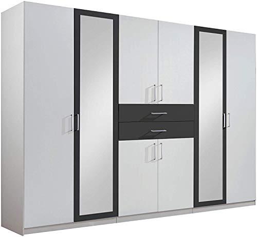 Guardarropa, armario, puerta de 2 lentes 2 cajones 4 estante ajustable 58 x 270 x 210 cm,Grey
