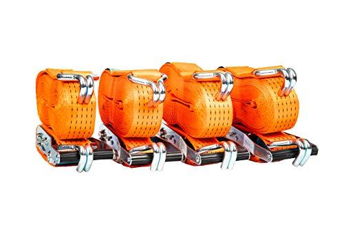 Premium rostfreie Zurrgurte mit Ratsche – Spanngurt zweiteilig – Spanngurt-Set mit Haken für die schnelle Ladungssicherung auf dem Anhänger – LKW – Transporter – PKW - 4 Stück 50 mm breit 8 Meter lang