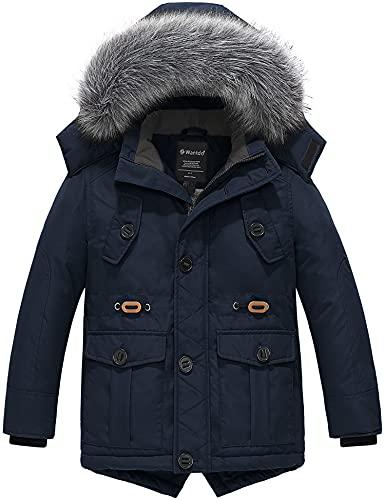 Wantdo Boy's Soft Winter Coat Windproof Parka Fleece Lined Puffer Jacket with Hood Coat Navy 8