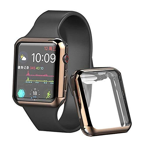 ddice Apple Watch 44mm ケース アップルウォッチ 本体 カバー 全面保護 Series 4 Series 3 2 アップルウォッチ シリーズ4 薄い アップルウォッチ カバー クリア 透明 耐衝撃 (44mm, ゴールド)