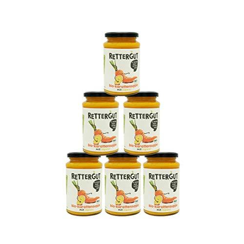 RETTERGUT 6-er Set Retterbox bio suppen Karotte (6x375ml) I Suppen im Glas mit gerettetem Gemüse I natürliche Zutaten I vegan I Bio-Qualität