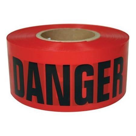"RK High-Visibility Red DANGER DO NOT ENTER Tape 3"" x 1000Feet, Tear Resistant Design (1 Roll)"