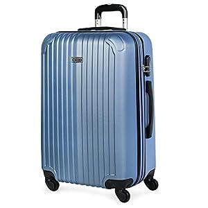 ITACA - Maleta de Viaje Trolley Rígida 4 Ruedas 66 cm Mediana de ABS. Dura Extensible Resistente y Ligera. Estudiantes y Profesionales Bonito Diseño. T71560, Color Azul Zafiro