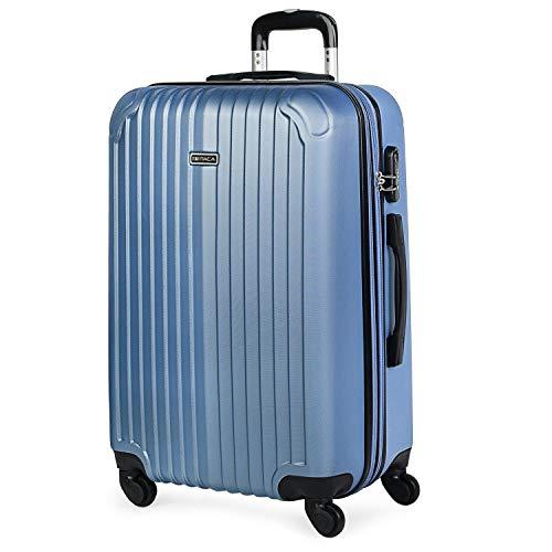 ITACA - Maleta de Viaje Trolley rígida 4 Ruedas 66 cm Mediana de abs. Dura Extensible y Ligera. Estudiantes y Profesionales Bonito diseño. t71560, Color Azul Zafiro