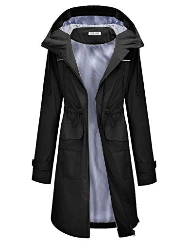 Women's Lightweight Hooded Raincoat Jacket with Drawstring Waist Black S