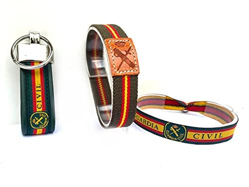 Guardia Civil. Conjunto pulsera elástica, pulsera de tela y llavero