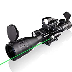 4-16x50AO Rifle Scope Combo Dual Illuminated with Flashlight Green Laser Sight 4 Holographic Reticle Red Dot for Rail Mount