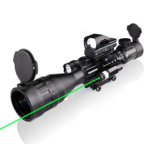 4-16x50AO Rifle Scope Combo Dual Illuminated with Green Laser Sight 4 Holographic Reticle Red Dot for Rail Mount