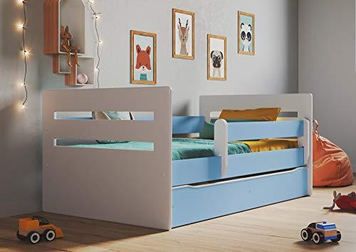 Cama para Niños con barrera de protección contra caídas, cajones extraíbles y base de listones para niñas y niños - Tomi 80 x 140 cm azul
