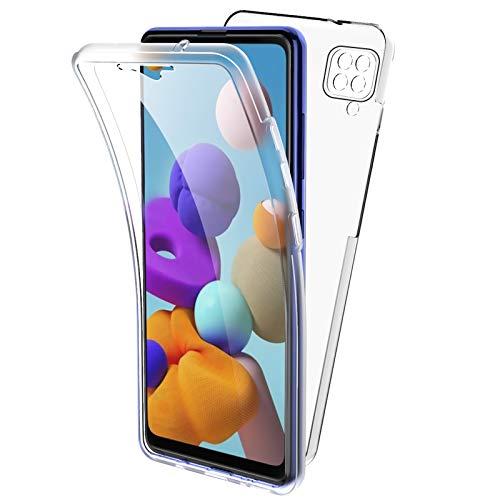 Oududianzi Hülle für Samsung Galaxy A42 5G, 360 Grad Schutz Entworfen, Transparent Ultra Dünn TPU Silikon Hülle Vorne & PC Zurück Hülle Ursprüngliche Schönheit Doppelte Schutzabdeckung-Transparent