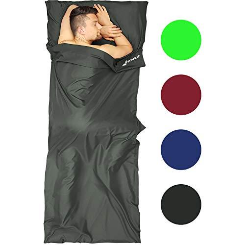 Fit-Flip Hüttenschlafsack Mikrofaser, Reiseschlafsack, Schlafsack Inlay, Schlafsack Inlett mit Reißverschluss - Einstieg rechts - Farbe: dunkelgrau