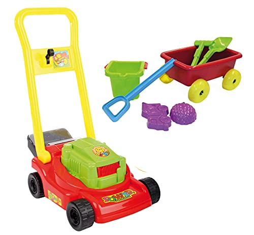 Set Kinder Gartenspielzeug Rasenmäher mit Bollerwagen Sandspielzeug