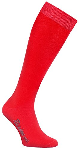 Rainbow Socks - Donna Uomo Colorate Calzini Lunghi Al Ginocchio di Cotone - 1 Paia - Rojo - Tamaño 42-43