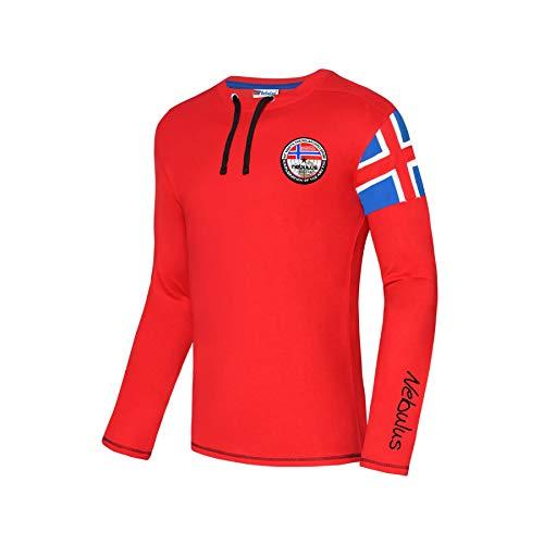 Nebulus FRERK T-shirt à manches longues pour homme (modèle : P4692 – Homme, rouge/noir, taille : M) FBA